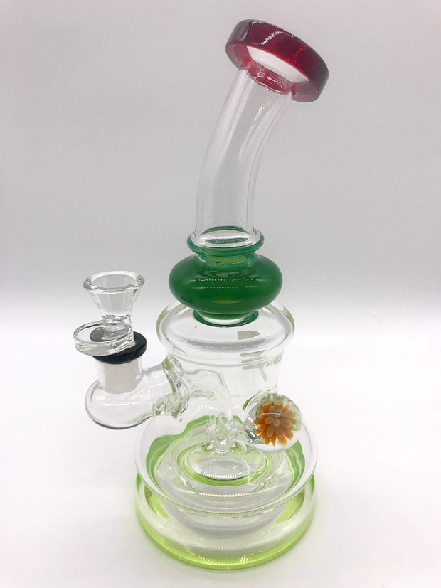 Smoke Station Water Pipe Green Thick Banger Hanger with Heady Bauble
