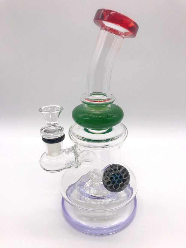 Smoke Station Water Pipe Purple Thick Banger Hanger with Heady Bauble