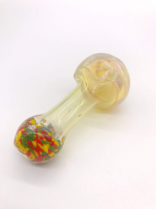 Smoke Station Hand Pipe Clear-Multicolored Thick Fumed Spoon with Multicolored Mouthpiece Hand Pipe