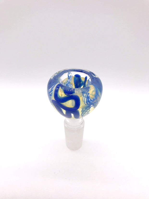 Smoke Station Waterpipe Bowl Blue Ribbon Thick Fumed Waterpipe Bowl with Blue Ribbon - 14mm
