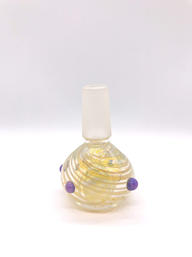 Smoke Station Waterpipe Bowl Purple Thick Fumed Waterpipe Bowl with Linework Fuming - 14mm