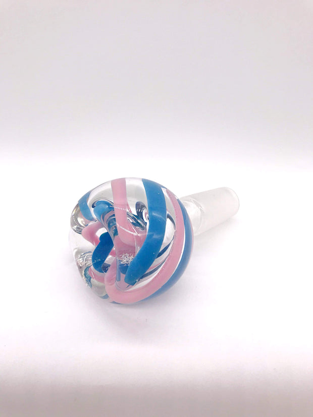 Smoke Station Waterpipe Bowl Thick Waterpipe Bowl with Two-Tone Ribbonwork - 14mm