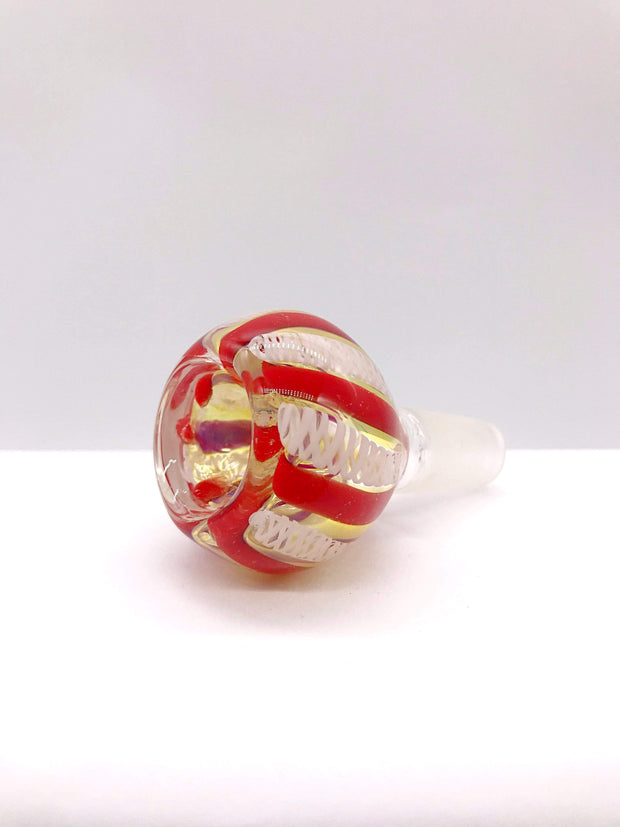 Smoke Station Waterpipe Bowl Red-White Two-Tone Ribbon Waterpipe Bowl - 14mm