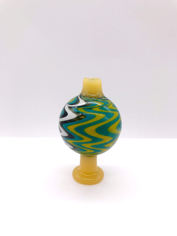 Smoke Station Carb Cap Yellow-Teal Wigwag Reversal Carb Cap