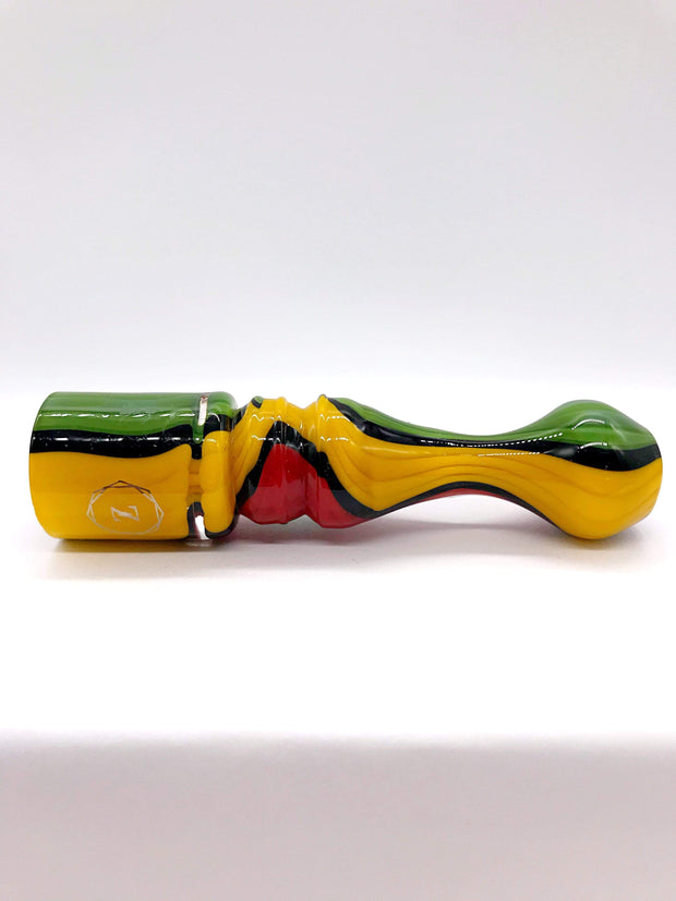 Smoke Station Hand Pipe Red-Green-Yellow Zenesis Glass American UV Chillum Hand Pipe