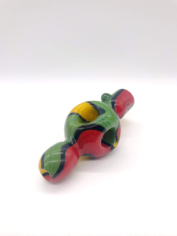 Smoke Station Hand Pipe Red-Green-Yellow Zenesis Glass American UV Diffused Mini-Chillum Hand PIpe