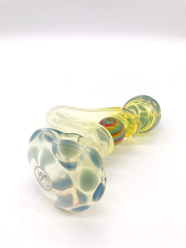 Smoke Station Hand Pipe Gray-Blue-Sidewinder Zenesis Glass Spoon Hand Pipe