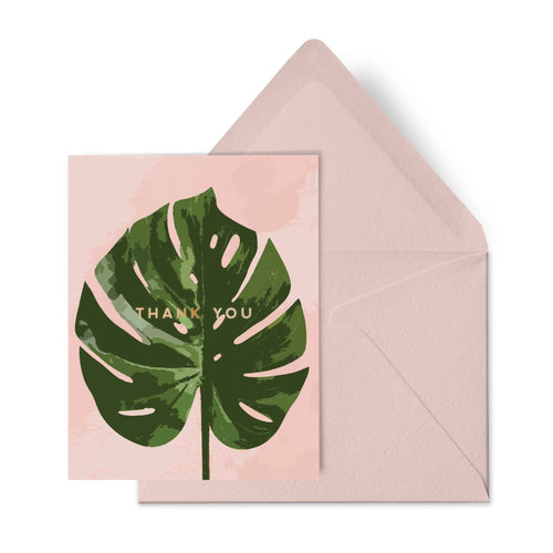 Pink Monstera Thank You Card