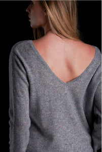 Brodie Cashmere Rose Reversible Grey Jumper - 769
