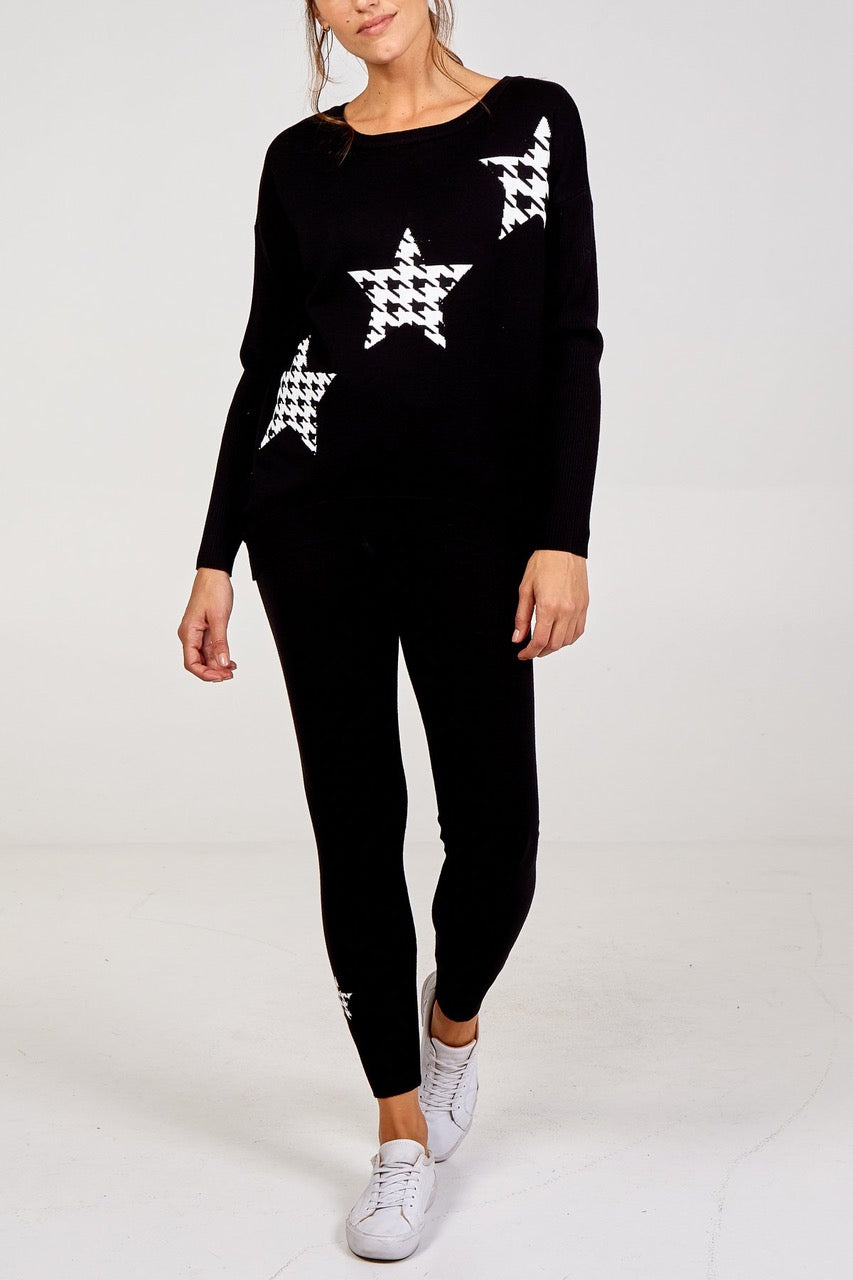 Houndstooth Star Jumper