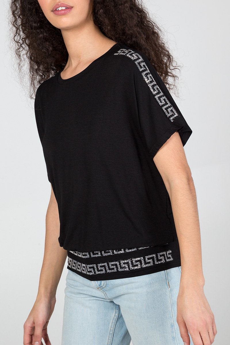 Grecian Pattern Diamante Top Black