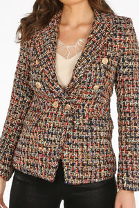Boucle Tweed Double Breasted Blazer