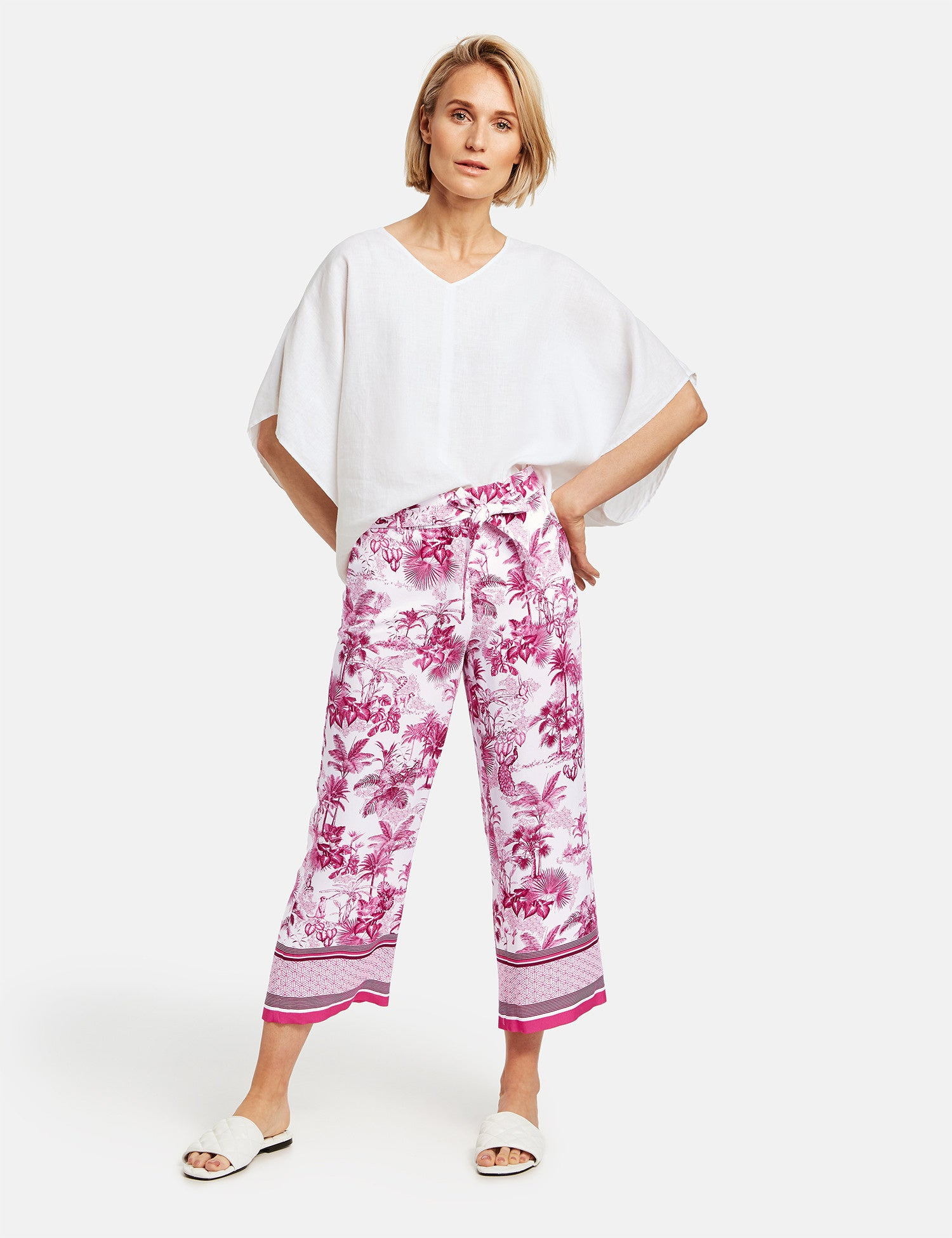Gerry Weber Pink Oriental Print Trousers 222295