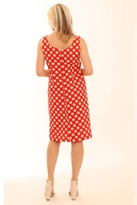 12003 Pomodoro Red Spot Shift Dress
