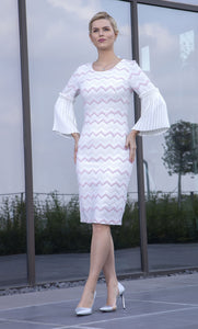 Lizabella style 2000 Ivory & Pink with fluted sleeve detail