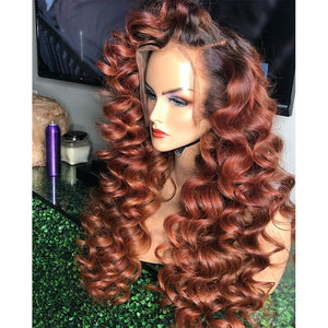 Loose Wave 250 Density Ombre Colored Invisible Lace Front Hair Closure Wigs Preplucked Brazilian Remy Two Tone Lace Front Wigs