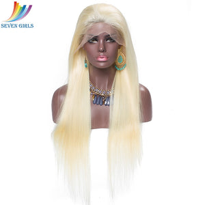 Blonde Color Straight Lace Front Wig PrePlucked With Baby Hair Brazilian 100% Human Hair For Black Women 8-26Inch