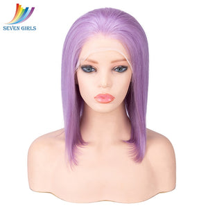 Straight Full Lace Human Hair Wigs With Natural Hairline BOB Purple Colour Brazilian
