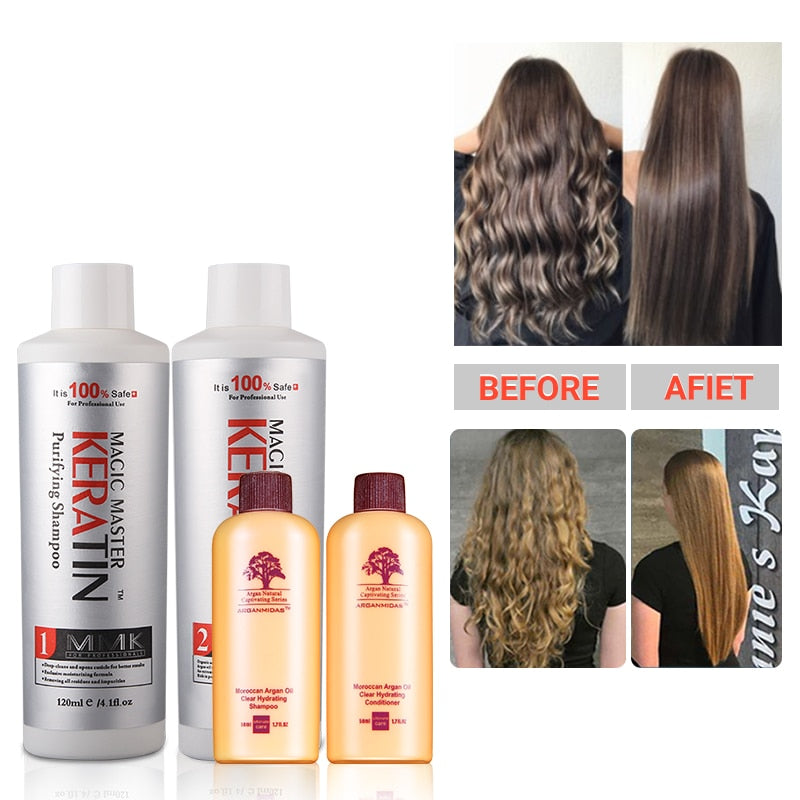 Cocount 120ml MMK Without Formaldehyde Keratin Moisturizing Treatment For Hair Care+120ml Purifying Shampoo+100ml Travel Set