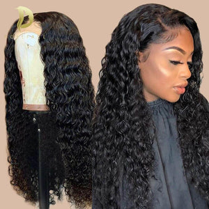 Lace Front Human Hair Wigs For Black Women Short Long Afro Curly Human Hair Wig Brazilian Deep Frontal Wig Preplucked water wave