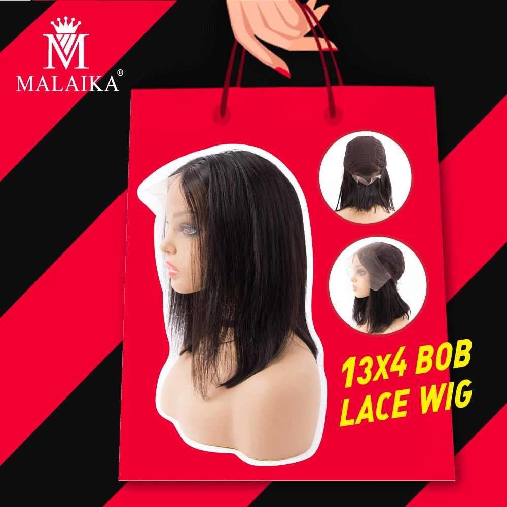 MALAIKA Short Lace Front Human Hair Wigs Bob Wig For Black Women Brazilian Straight Lace Wig Preplucked With Baby Hair 13x4