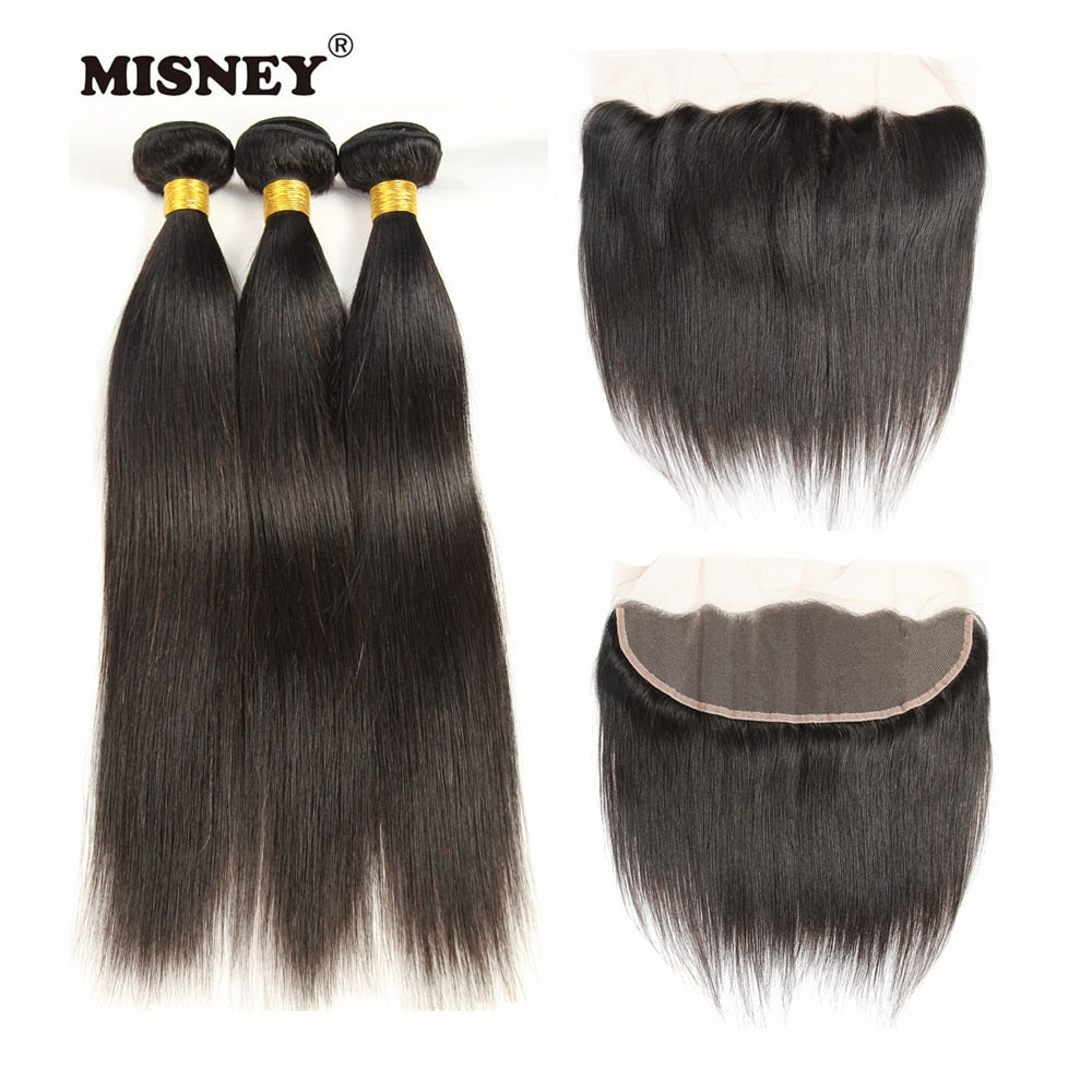 Remy Hair Straight Weaving 3 Bundles With Frontal Hand Tied 4X13 Lace Closure Natural Black Color