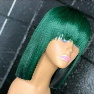 color Short Human Hair Wigs with Full Bangs for Black Women