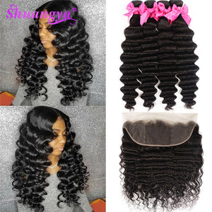 Loose Deep Wave Bundles With Frontal Brazilian Hair Weave Bundles With Closure Remy Hair Frontal With Bundles