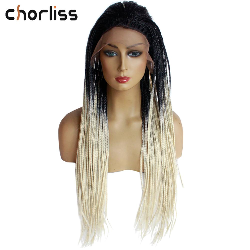 Ombre Grey Braided Box Braids Wigs for Women Long Synthetic Lace Front Wig Two Tone Gray Color Heat Resistant Lace Wig Chorliss