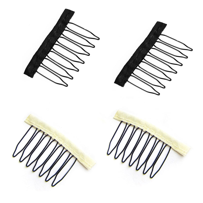 100PCS  stainless steel With Polyster Cloth 7 Teeth Wig combs and clip for full lace wig cap wig accessories black blonde color