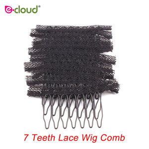 Best Quality Hair Clips For Extensions Black 7 Teeth Wig Combs Black Brown Comb Clips For Wigs Strong Lace 20PC