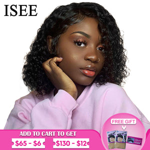 ISEE HAIR Water Wave Bob Wig 360 Lace Frontal Wig Short Bob Lace Front Wigs For Women Water Wave Full Lace Front Human Hair Wigs