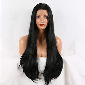 Fantasy Beauty Half Handmade Long Natural Straight LaceFront Wig Black Glueless Heat Resistant Synthetic Hair Wigs for Women
