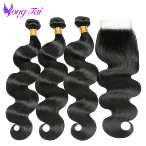 Unprocessed Peruvian Virgin Hair Body Wave 3 Bundles With Closure