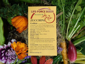 Zucchini, Golden -  Organic Heirloom vegetable seed Australia LifeForce Seeds