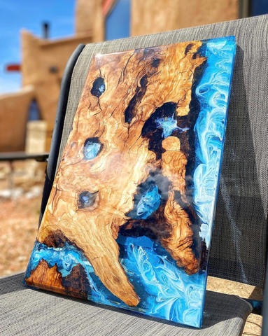 a blue river table