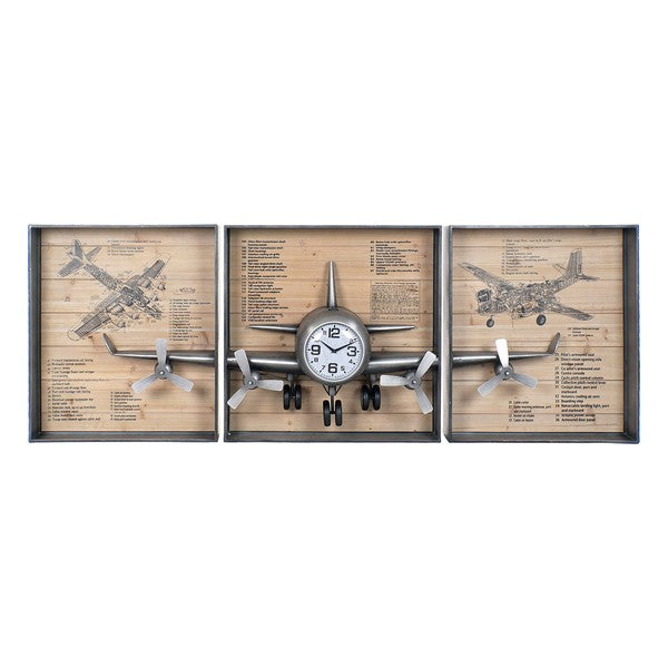 Wall Clock DKD Home Decor Aeroplane MDF Wood (3 pcs)
