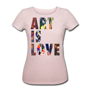 Abstract ART IS LOVE Shirt W - Rosa-Creme meliert