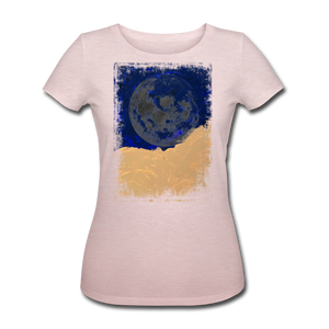 Abstract THE MOON Hoodie - Rosa-Creme meliert