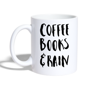 "Tasse ""coffee book rain"" - Weiß"