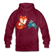 "Laden Sie das Bild in den Galerie-Viewer, Unisex Hoodie ""Fuchs&Hase"" - Bordeaux"