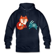 "Laden Sie das Bild in den Galerie-Viewer, Unisex Hoodie ""Fuchs&Hase"" - Navy"