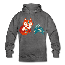 "Laden Sie das Bild in den Galerie-Viewer, Unisex Hoodie ""Fuchs&Hase"" - Anthrazit"