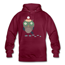 "Laden Sie das Bild in den Galerie-Viewer, Unisex Hoodie ""Eule"" - Bordeaux"