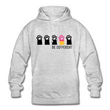 "Laden Sie das Bild in den Galerie-Viewer, Unisex Hoodie ""Be Different"" - Hellgrau meliert"