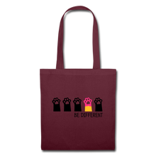 "Laden Sie das Bild in den Galerie-Viewer, Baumwolltasche ""Be Different"" - Burgunderrot"