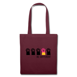 "Baumwolltasche ""Be Different"" - Burgunderrot"