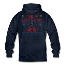 "Laden Sie das Bild in den Galerie-Viewer, Unisex Hoodie ""Meowy Christmas"" - Navy"
