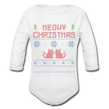 "Laden Sie das Bild in den Galerie-Viewer, Organic Baby Bodysuit ""Meowy Christmas"" - Weiß"