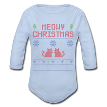 "Laden Sie das Bild in den Galerie-Viewer, Organic Baby Bodysuit ""Meowy Christmas"" - Sky"